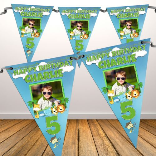 Personalised Girls Boys Jungle Animals Happy Birthday Flag PHOTO Bunting Banner - N80 ANY AGE